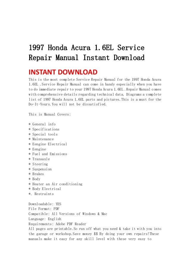 1997 honda acura 1 6 el service repair manual instant download rh slideshare net 1999 Acura El 1999 Acura El