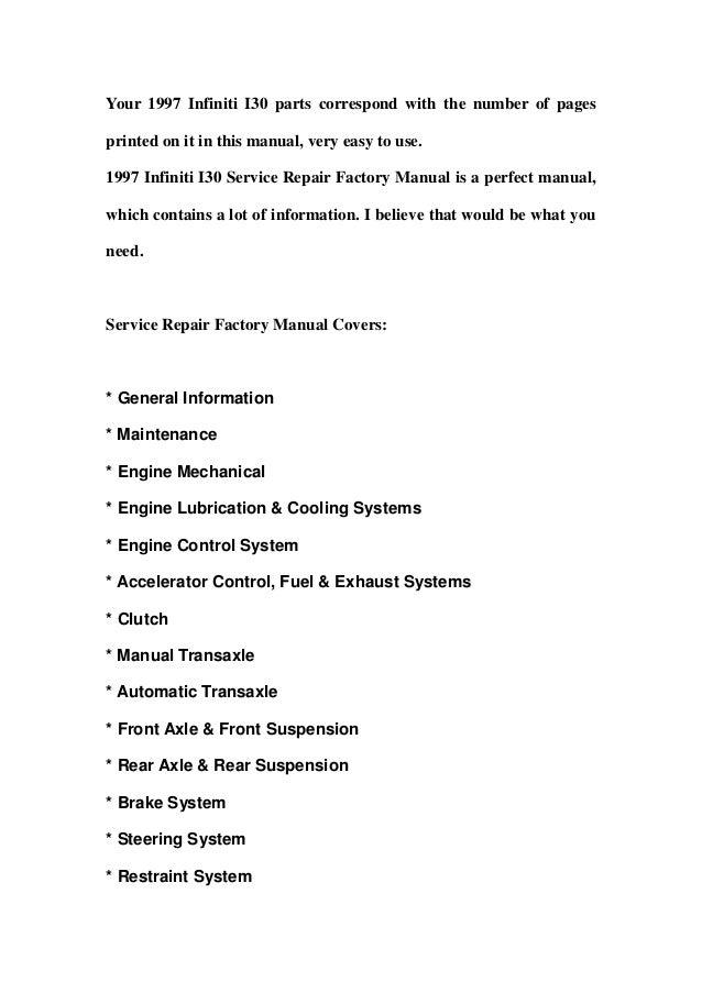 1997 infiniti i30 service repair factory manual instant download rh slideshare net 1997 infiniti i30 repair manual pdf 1997 infiniti i30 service repair factory manual