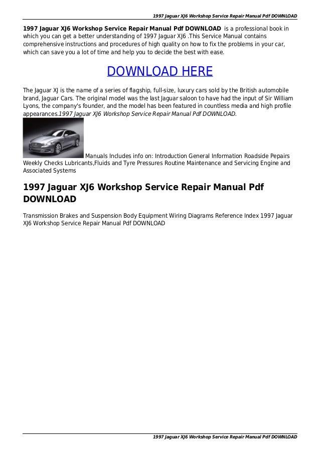 1997 Jaguar Xj6 Workshop Service Repair Manual Pdf Download: Jaguar Car Wiring Diagram At Gundyle.co