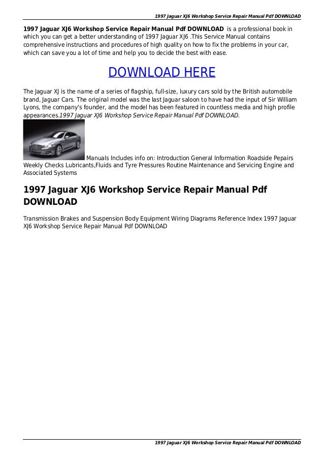 1997 jaguar xj6 workshop service repair manual pdf download on