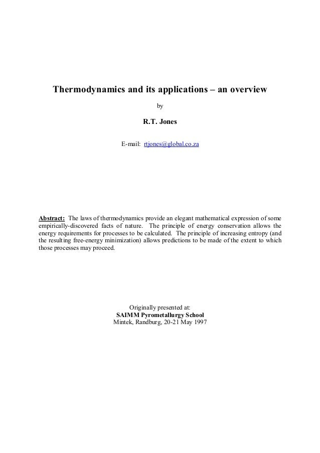 Thermodynamics and its applications – an overview                                            by                           ...