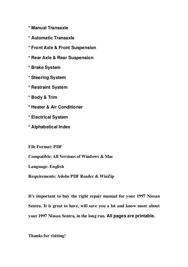 1997 nissan sentra service repair manual download sciox Gallery