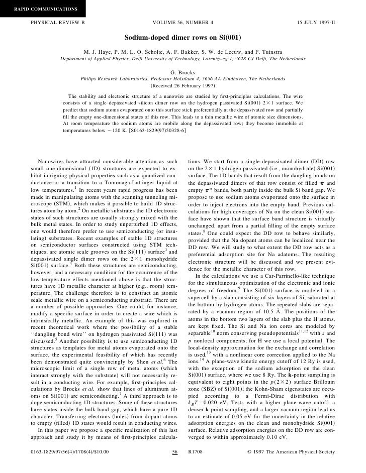 RAPID COMMUNICATIONS       PHYSICAL REVIEW B                                      VOLUME 56, NUMBER 4                     ...