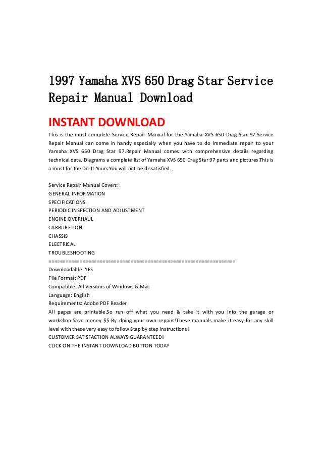 1997 yamaha xvs 650 drag star service repair manual download rh pt slideshare net yamaha xvs 400 service manual yamaha xvs 400 dragstar service manual