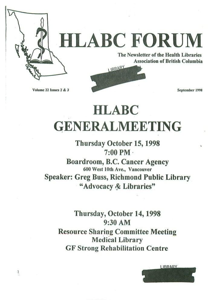 HLABC Forum: September 1998