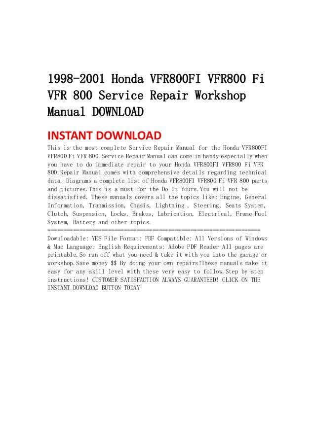 1998 2001 Honda Vfr800 Fi Vfr800 Fi Vfr 800 Service Repair Workshop M