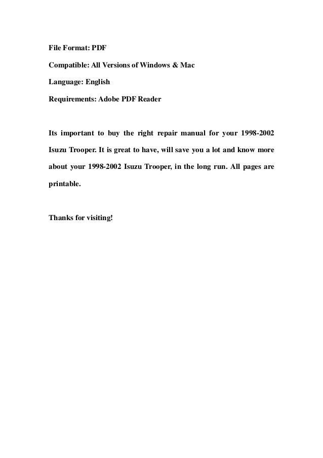 1998 2002 isuzu trooper service repair workshop manual download 1998
