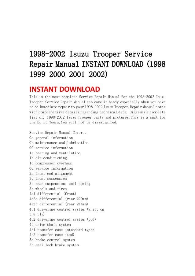 Isuzu Trooper manual free download