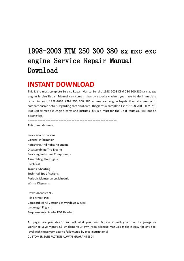 19982003 KTM 250 300 380 Sx Mxc Excengine Service Repair Manualdownloadinstant Download This Is: KTM 380 Exc Wiring Diagram At Aslink.org