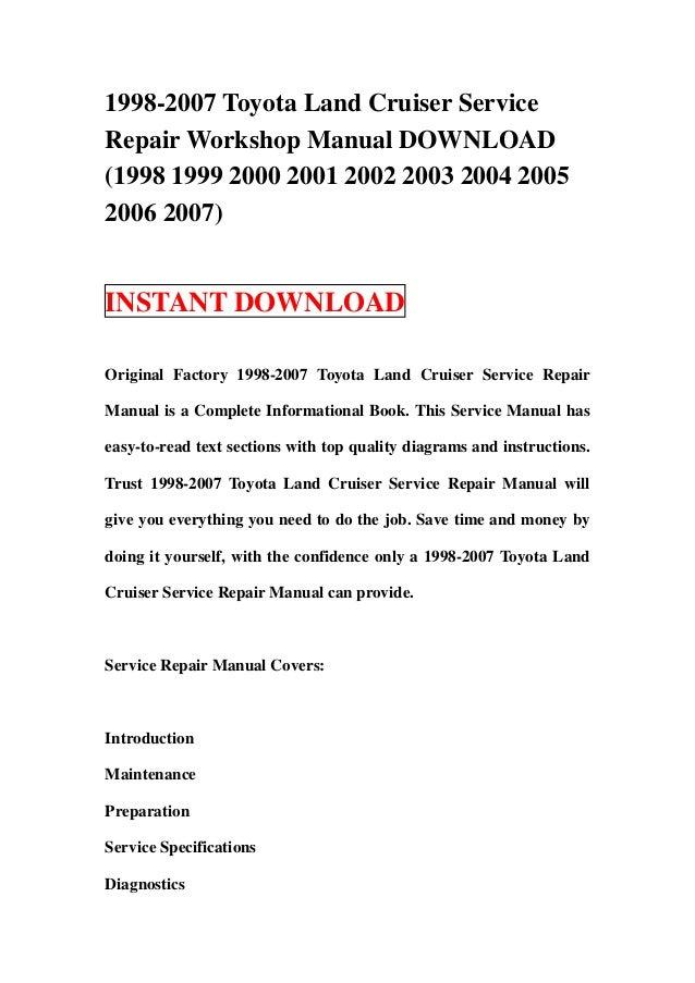 Toyota Land Cruiser Repair Manual Pdf