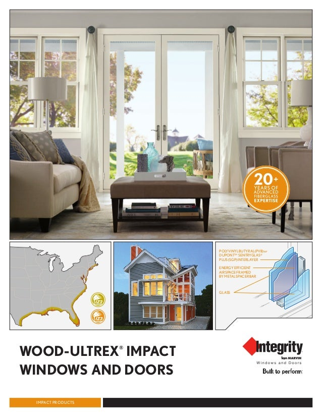 WOOD-ULTREX® IMPACT WINDOWS AND DOORS IMPACT PRODUCTS POLYVINYLBUTYRAL(PVB)or DUPONT™ SENTRYGLAS® PLUS(SGP)INTERLAYER ENER...