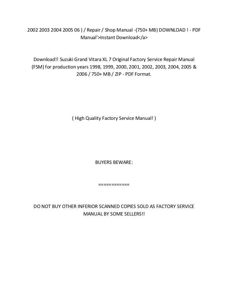 2005 suzuki xl7 owners manual pdf