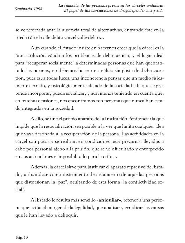 Pág. 11 La situación de las personas presas en las cárceles andaluzas El papel de las asociaciones de drogodependencias y ...