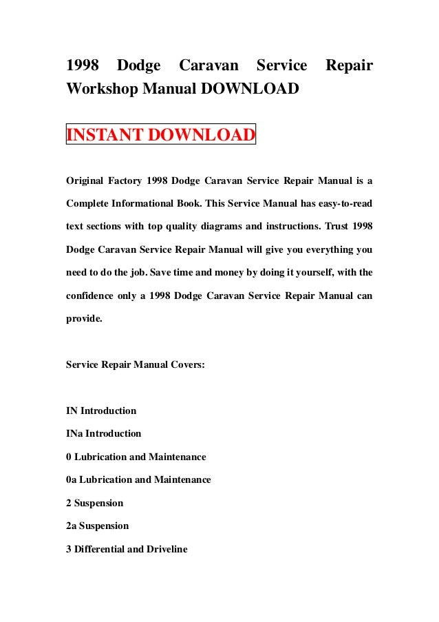 1998 dodge caravan service repair workshop manual download rh slideshare net 1998 dodge neon service manual pdf 1998 dodge dakota service manual pdf