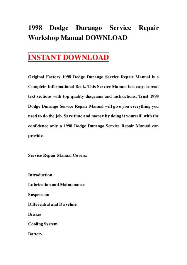 1998 dodge durango service repair workshop manual download rh slideshare net 1998 dodge ram 2500 diesel service manual 1998 dodge stratus service manual pdf