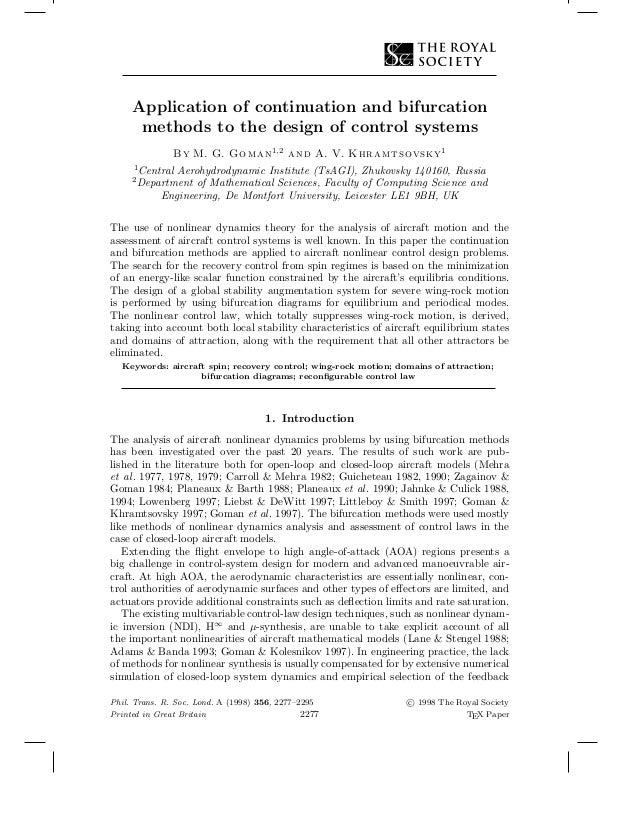 Application of continuation and bifurcation methods to the design of control systems By M. G. Goman1,2 and A. V. Khramtsov...