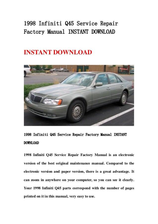 1998 infiniti q45 service repair factory manual instant download rh slideshare net 1997 Infiniti Q45 1998 infiniti q45 service manual