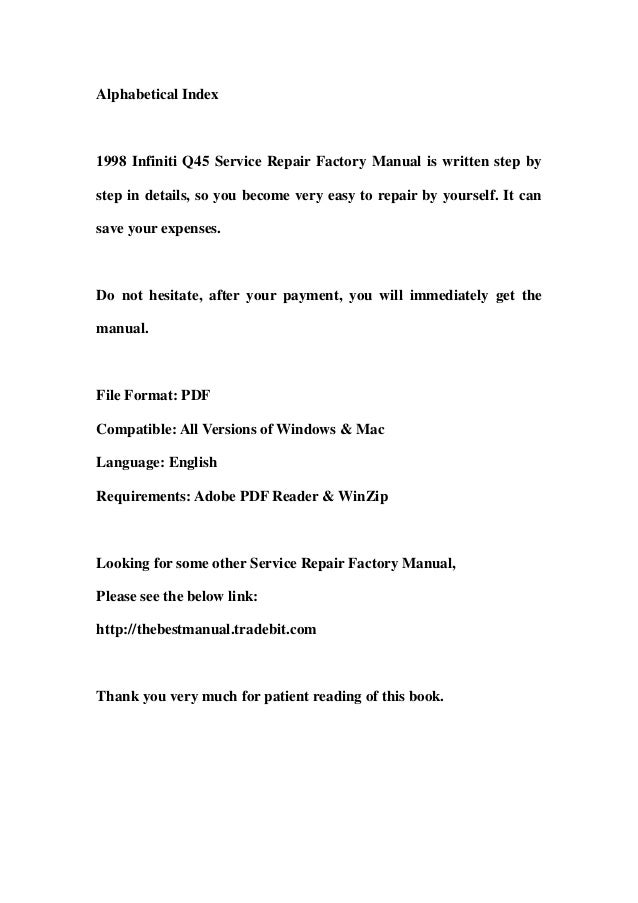 1998 infiniti q45 service repair factory manual instant download