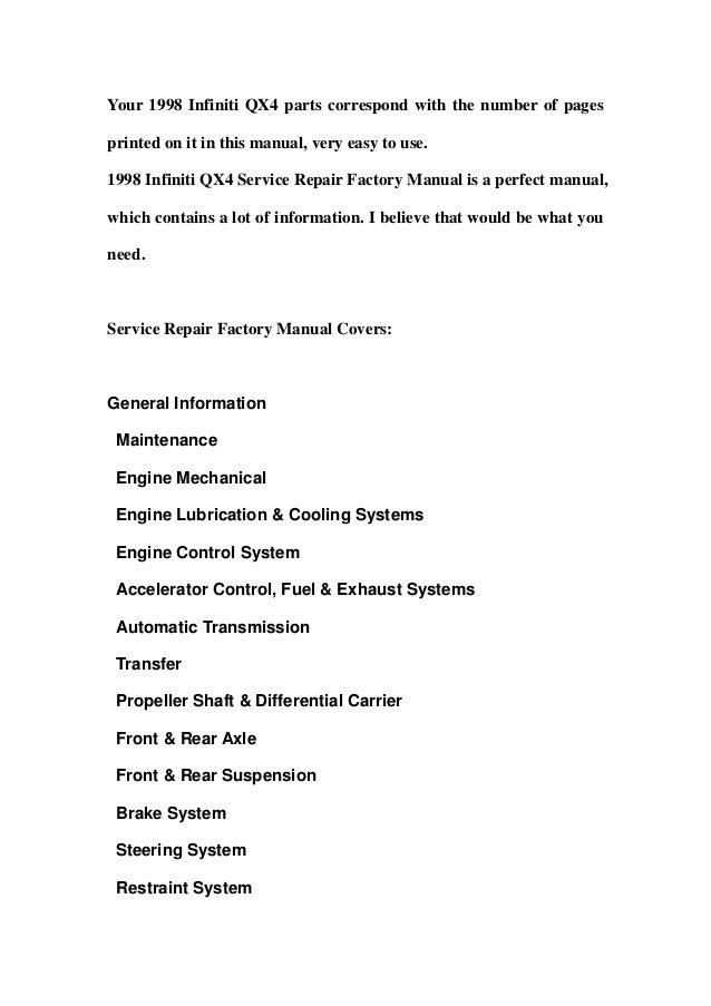1998 infiniti qx4 service repair factory manual instant download Slide 2