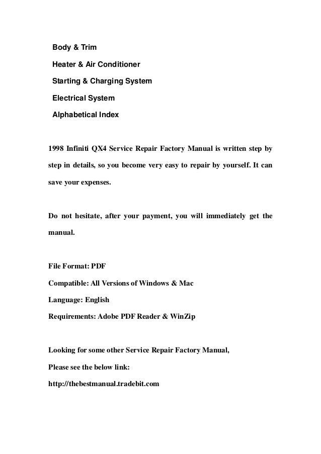 1998 infiniti qx4 service repair factory manual instant download Slide 3