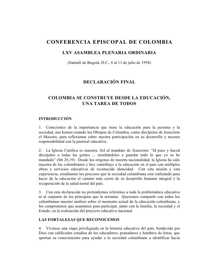 CONFERENCIA EPISCOPAL DE COLOMBIA               LXV ASAMBLEA PLENARIA ORDINARIA                   (Santafé de Bogotá, D.C....