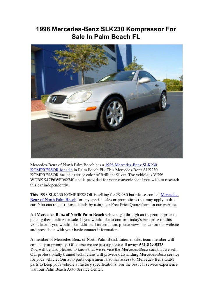 1998 mercedes benz slk230 kompressor for sale in palm beach fl for Mercedes benz north palm beach fl