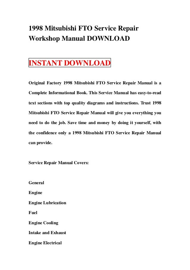 1998 mitsubishi fto service repair workshop manual download rh slideshare net Mitsubishi FTO Interior Mitsubishi FTO Engine