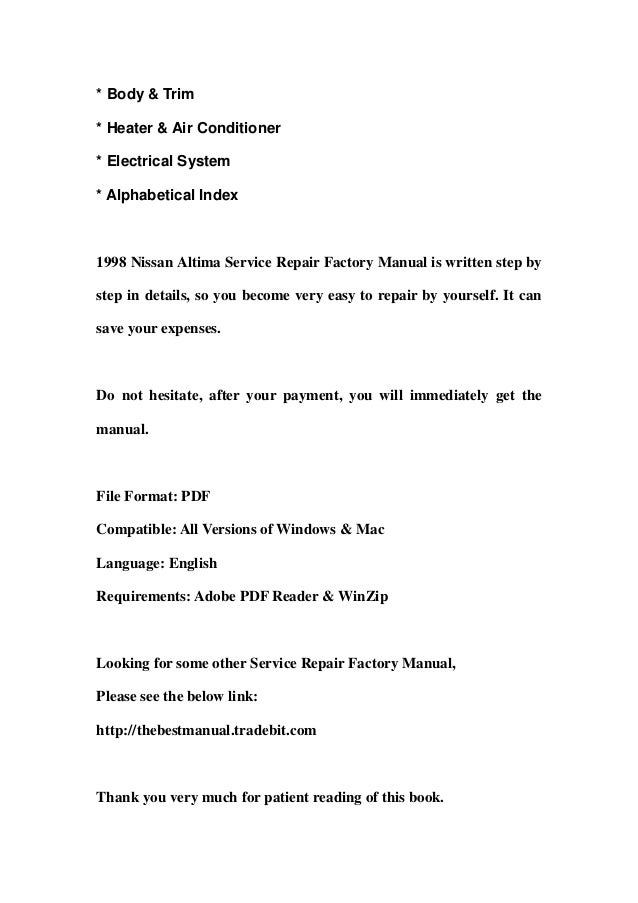 1998 nissan altima service repair factory manual instant download rh slideshare net 2009 Nissan Altima Manual PDF 2005 Nissan Altima Manual Book