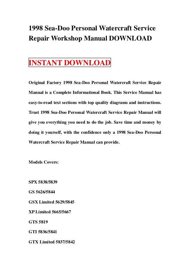 1998 Sea-Doo Personal Watercraft ServiceRepair Workshop Manual DOWNLOADINSTANT DOWNLOADOriginal Factory 1998 Sea-Doo Perso...