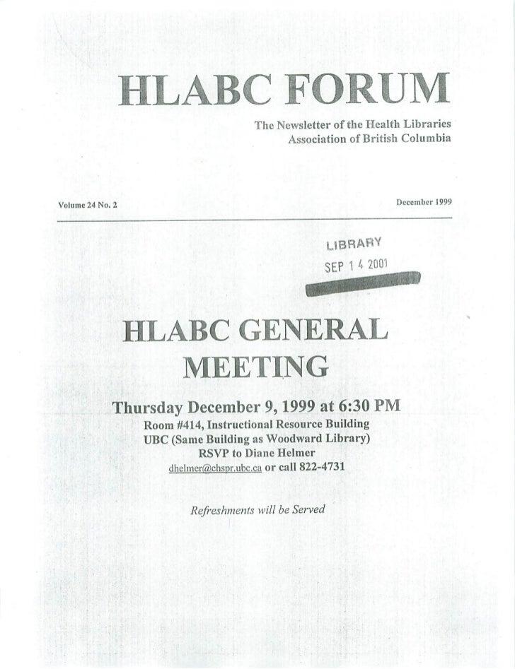 HLABC Forum: December 1999