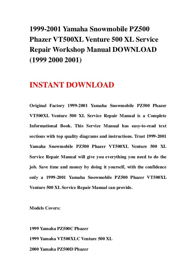 1999 2001 yamaha snowmobile pz500 phazer vt500 xl venture