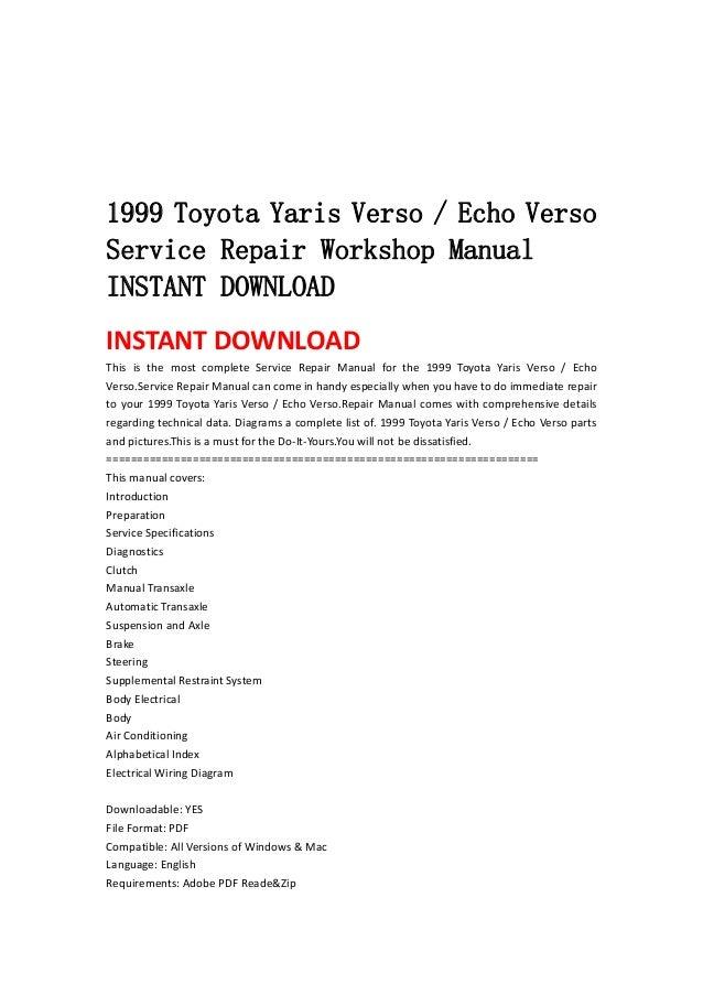 1999 2005 Toyota Yaris Verso Echo Verso Service Repair border=