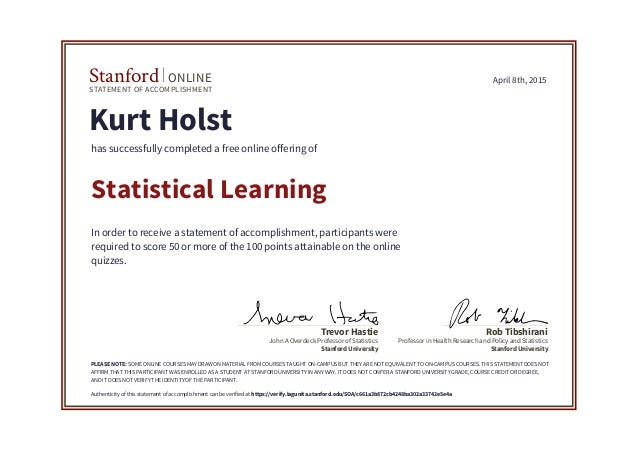 Stanford Statistical Learning