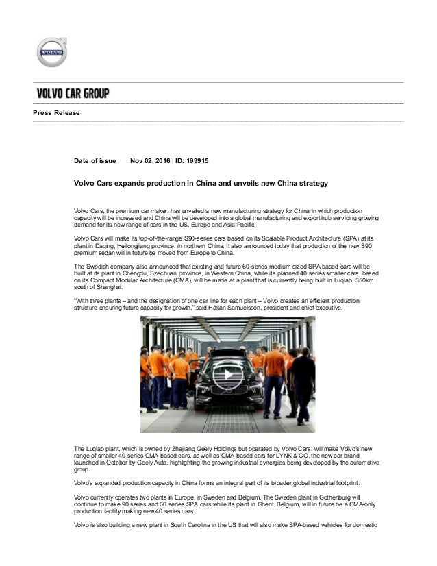 Volvo Shifts Production To China Press Release