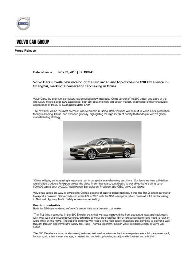 Volvo S90 Excellence - Press Release