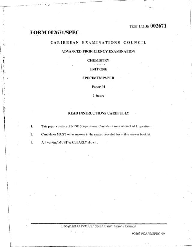 1999 cape chem unit 01 paper 01 (specimen)(1)