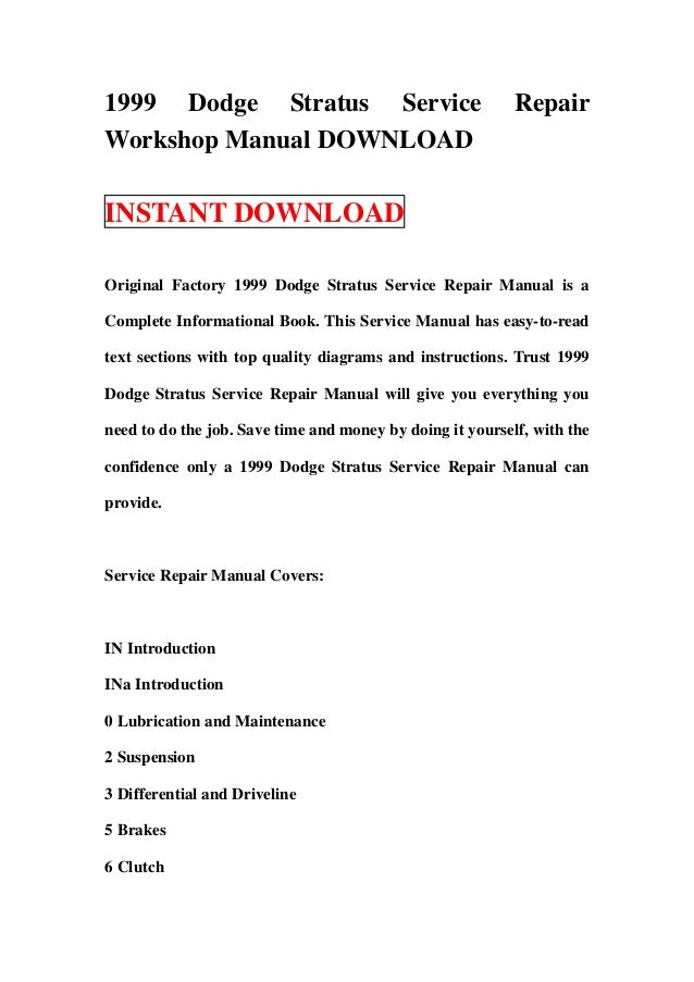 1999 dodge stratus service repair workshop manual download rh slideshare net 99 Dodge Stratus Repair Manual Dodge Stratus Manual Online