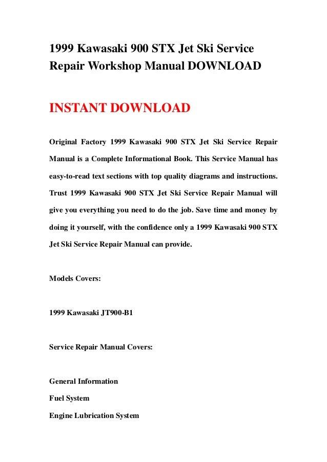 1999 kawasaki 900 stx jet ski service repair workshop manual download Jet Ski 900 STX