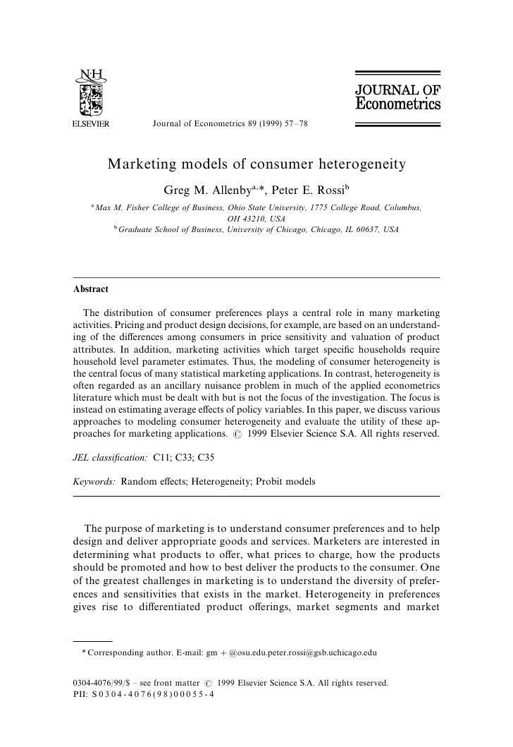 Journal of Econometrics 89 (1999) 57—78              Marketing models of consumer heterogeneity                           ...