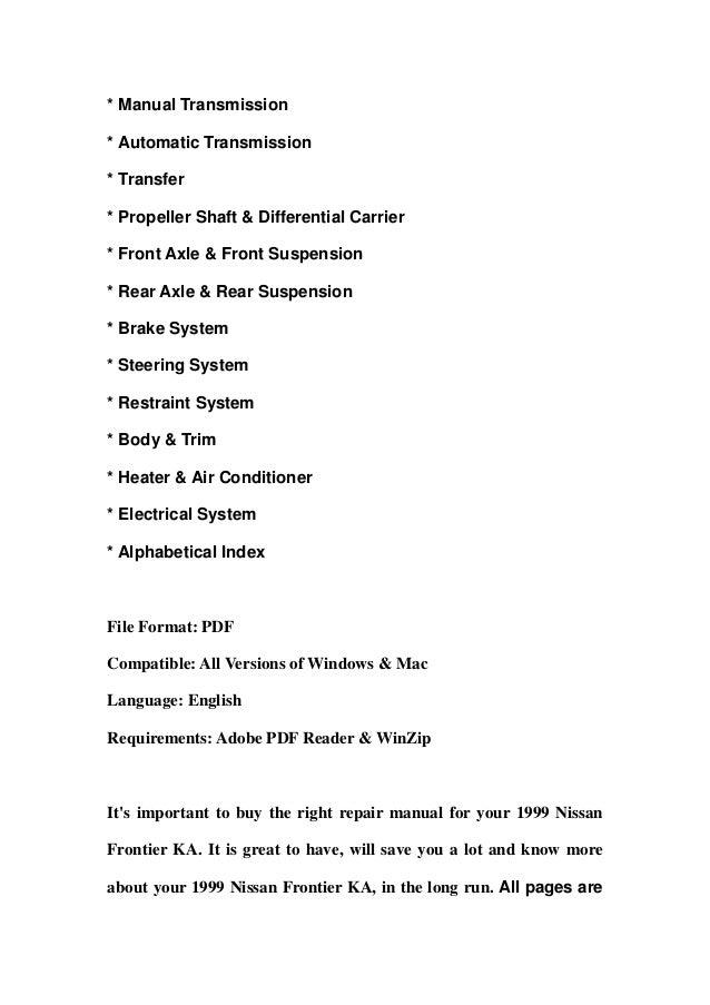 1999 nissan frontier ka service repair manual download rh slideshare net 1999 nissan frontier repair manual pdf 2004 Nissan Frontier