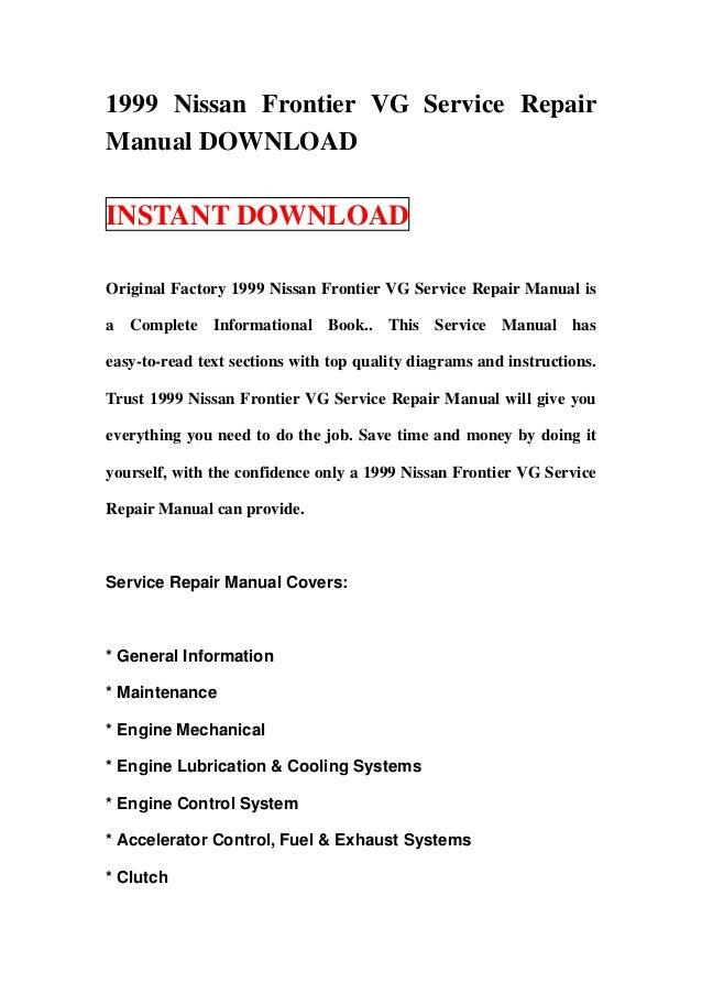 1999 nissan frontier vg service repair manual download rh slideshare net 2001 Nissan Frontier 2002 Nissan Frontier