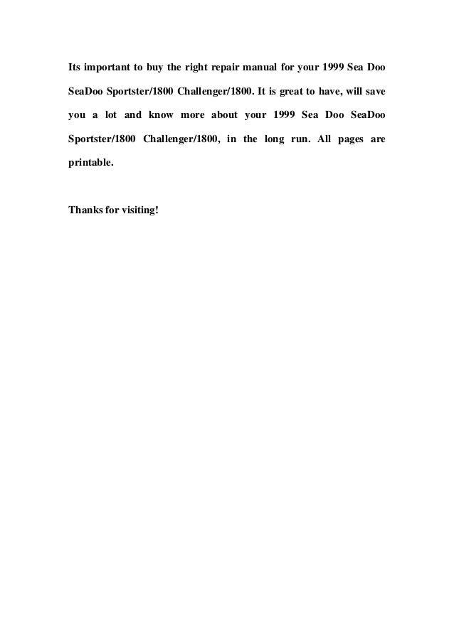 1999 sea doo sea doo sportster1800 challenger1800 service repair workshop manual download (volume 1) Slide 3