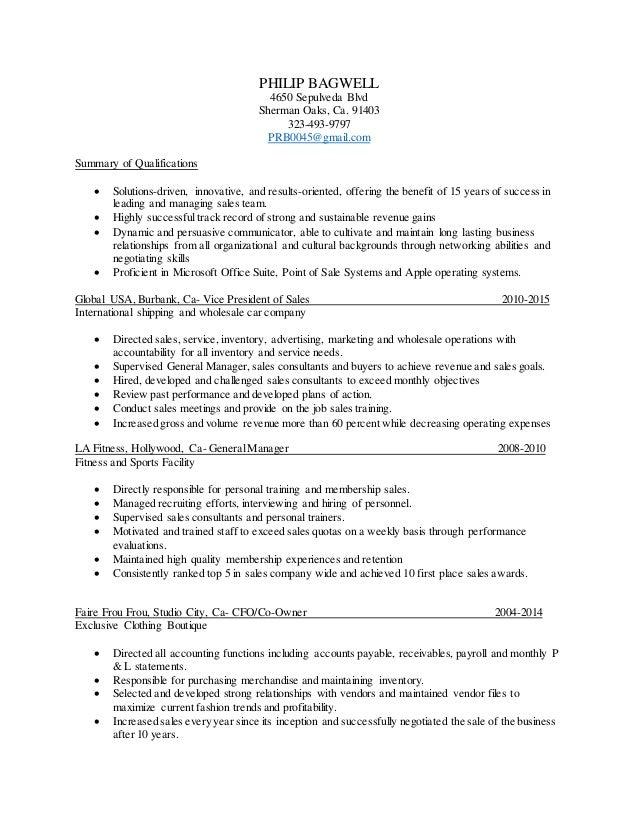 Resume Membership Sales