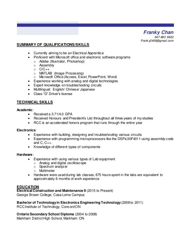franky chan 647 883 8632 franky2456gmailcom summary of qualifications skills - Different Types Of Technical Skills