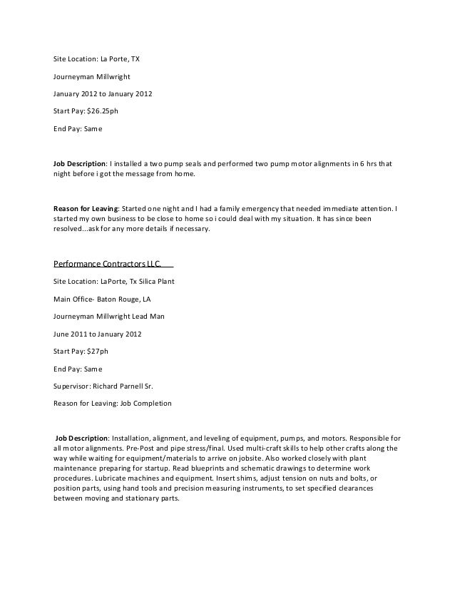 millwright apprentice resume