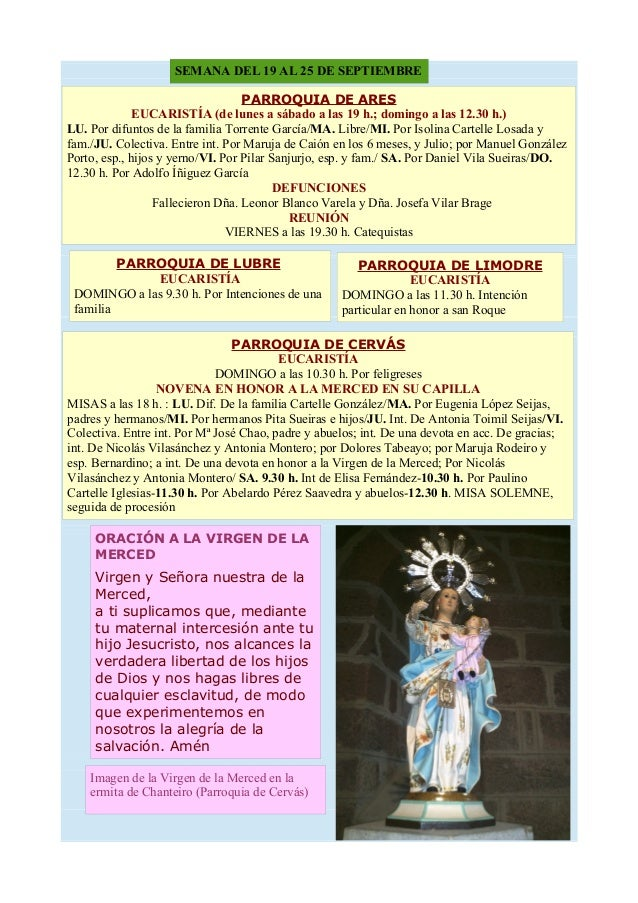 SEMANA DEL 19 AL 25 DE SEPTIEMBRE PARROQUIA DE ARES EUCARISTÍA (de lunes a sábado a las 19 h.; domingo a las 12.30 h.) LU....