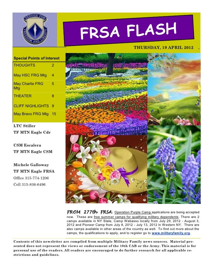FRSA FLASH                                                                        THURSDAY, 19 APRIL 2012                 ...