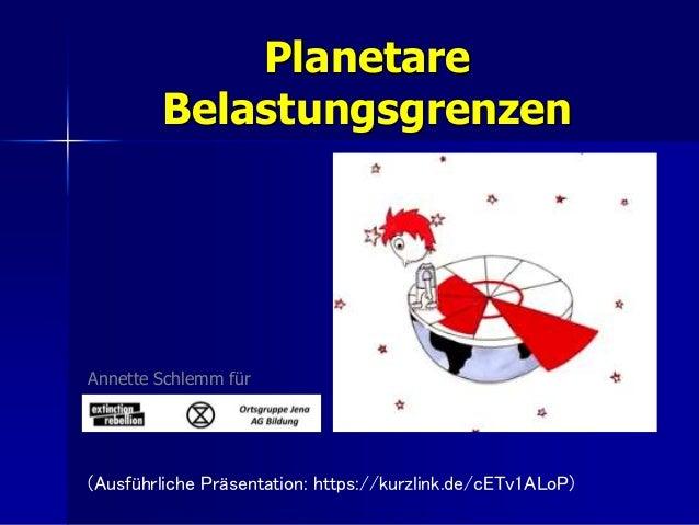 Planetare Belastungsgrenzen Annette Schlemm für (Ausführliche Präsentation: https://kurzlink.de/cETv1ALoP)
