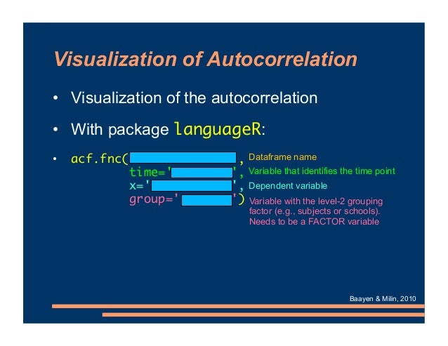 Visualization of Autocorrelation • Visualization of the autocorrelation • With package languageR: • acf.fnc(xxx , time='xx...