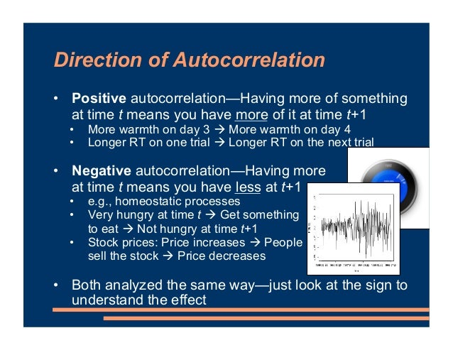 Direction of Autocorrelation • Positive autocorrelation—Having more of something at time t means you have more of it at ti...